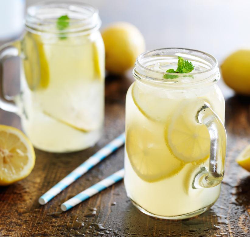 Refreshing Lemon Water in Jars