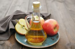 Apple cider vinegar on the table