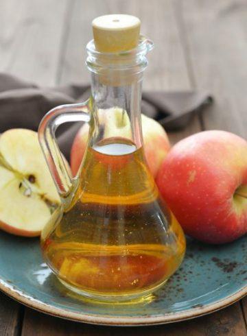 Apple cider vinegar on the table