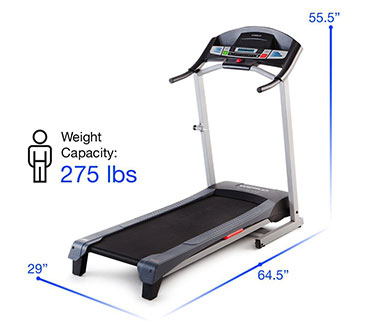 Weslo Cadence G59 Treadmill Size