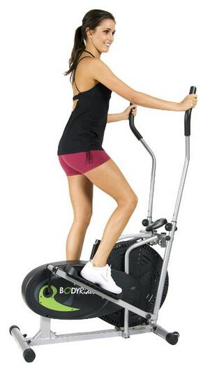 Woman on a compact elliptical