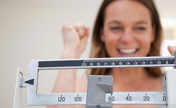 Woman Weighing Herself Successful Weight Loss