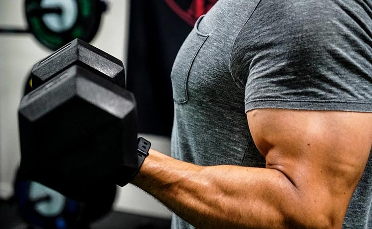 Man Working Out Bicep Curls