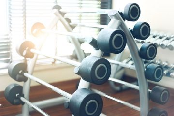 Dumbbells in a Weight Rack For Fitness