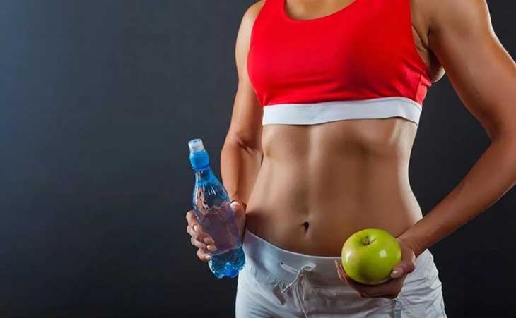 Woman Losing Weight Exercise Drinking Water