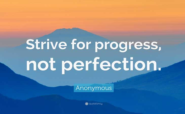 Strive for Progress Not Perfection Fitness Quote