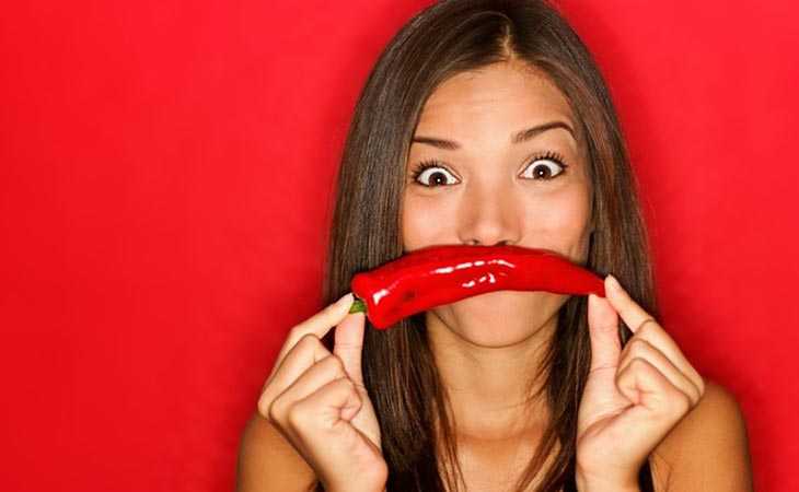 Woman Eating Hot Spicy Peppers Healthy Food Facts