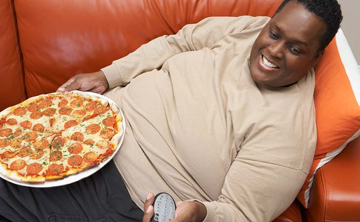 Fat, Lazy Obese Man Eating Sedentary Lifestyle