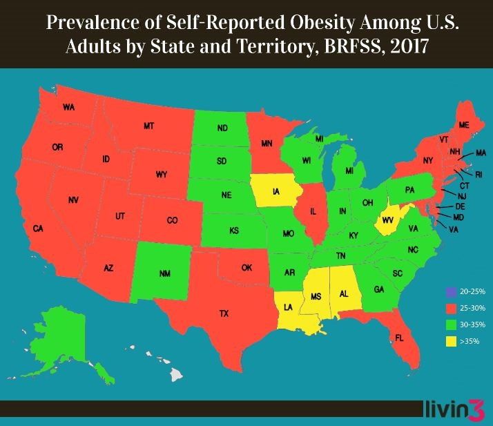 Obesity by state map