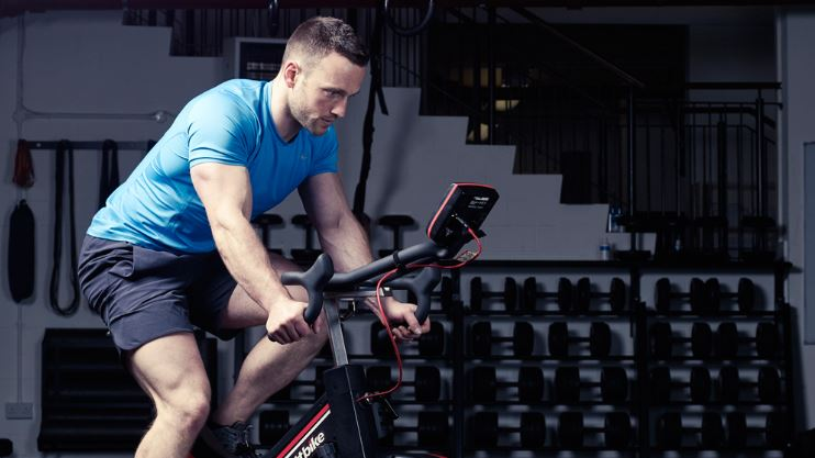 Man using a stationary bike