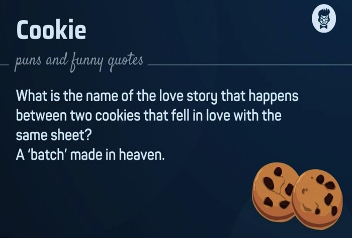A funny meme about the love story between two cookies