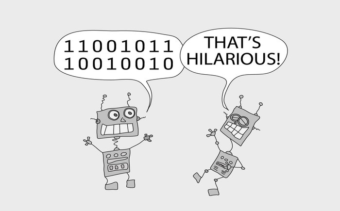 A robot telling a joke to the other robot