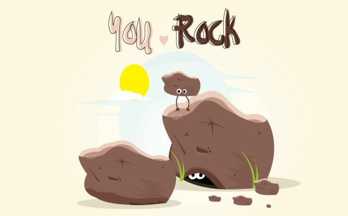 "A drawing of three rocks saying ""you rock""!"